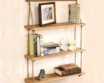 Hanging Shelf U2013 Reclaimed Wood Shelves U2013 Hanging Barn Wood Bookshelf U2013  Suspended Shelf Unit U2013