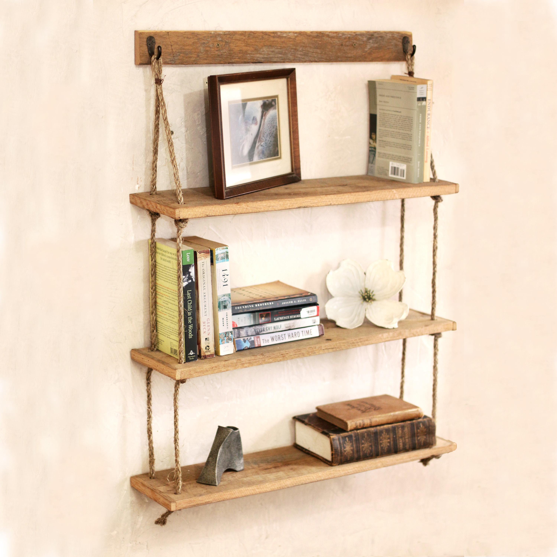 Hanging shelf Reclaimed wood shelves Hanging barn wood