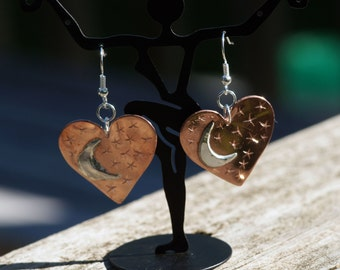 Heart, Moon, Stars Dangle Earrings, Hand made, hand engraved