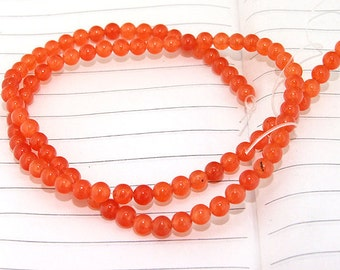 """strand Round Orange Jade Beads ----- 4mm ----- about 90Pieces ----- gemstone beads--- 15"""" in length"""