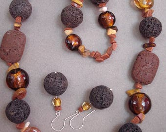 Chocolate Inspiration - necklace, earrings made of lava, agate, mookaite, goldstone, venetian glass and silver