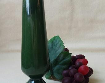 Green Bud Vase ~ Ceramic ~ Hand Made ~ Dark Green Glaze ~1970 ~ Art Deco Style ~ Art Pottery ~ Footed Vase ~ Pedestal ~ Penny Lane Treasures