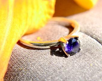 Saphir-Ring in Sterling-Silber, blau Verlobungsring, Ehering Silber, Versprechen Ring