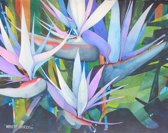 NEW Painting.....Dramatic Art Original Watercolor Painting of a Tropical FOUR BIRDS of Paradise