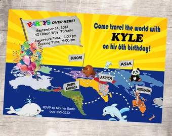 Around The World Birthday Invitation - Printable