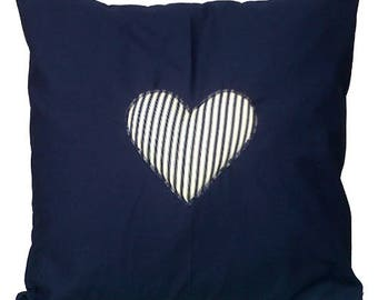 "Navy Blue with Striped  Heart Cotton Cushion Cover 16"" x 16"""