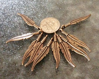 12 Copper Plated Feather Pendants, 2 sided charms, Detailed feather necklaces, copper feather earrings