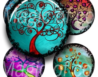 Stylized Curl Colourful Trees - 63  1 Inch Circle JPG images - Digital  Collage Sheet