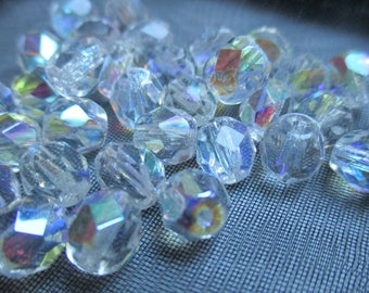 10 6 mm Crystal ab Czech faceted beads