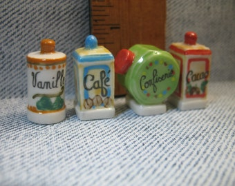 Vintage Style Kitchen Containers  - French Feve Feves Porcelain Figurines  Doll House Miniatures