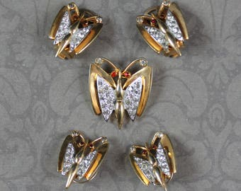 Vintage Mazer Gold and Silver Rhinestone Butterfly Brooch, Earrings and Collar Studs