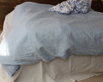 Blue linen duvet cover, light linen bedding, with buttoned closure