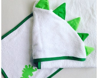 Dinosaur Hooded Towel, Dinosaur Kids Towel, Dinosaur Birthday Gift, Dinosaur Fan Gift, Dinosaur Beach Towel. Custom Towel: Choose Colours.