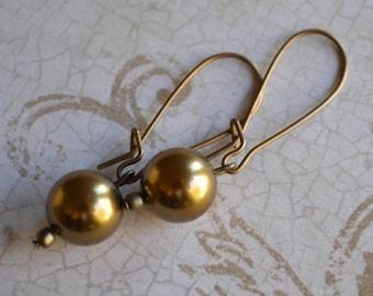 Swarovski Antique Brass Pearl Vintaj Natural BraSS Kidney Wire Earrings
