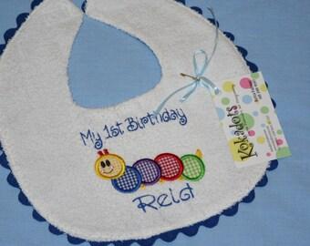 Baby Einstein Caterpillar Bib, Caterpillar Bib, Applique Bib in Blue for a Boy