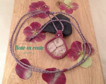 macrame necklace with real rose hydrangea blossom in resin