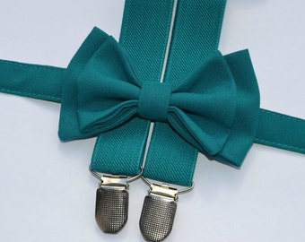 Teal Bow Tie &  Teal Suspenders with Teal Pocket Square for Baby Toddler Boy Men