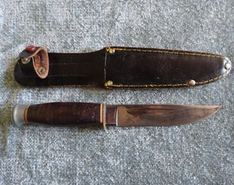 Vintage marble style bush craft knife and sheath
