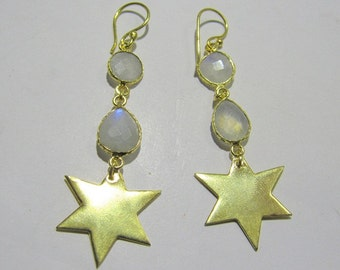 70% off Natural Moonstone Gold Earing in wholesale price