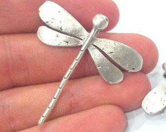2 Dragonfly Pendant Antique Silver Plated Brass (42x40mm)  G10790