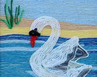 String swan wall art, String wall art, String art, Rustic wall art, Rustic wall decor, Swan wall art, Swan.