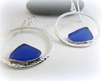 Sea glass earrings. Silver hoop earrings. Sea glass jewelry. Maine Jewelry. Bezel sea glass. Seaglass earrings. Hammered silver earrings