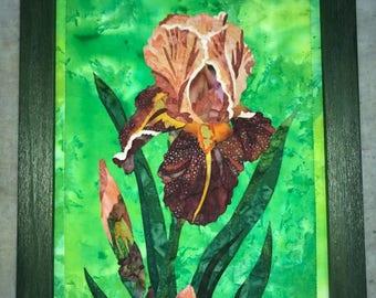 Peach Iris Batik Painting