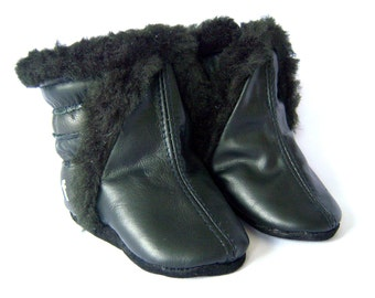 Black  lamb leather baby boots, toddler winter baby boots, soft  boots, Chrome free ,leather booties