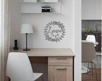 Vinyl Sticker, Flower Love Circle, Home Office, Bedroom Wall Art