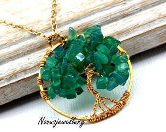 Green Onyx Tree Of Life Pendant Wire Wrapped Tree Of Life Necklace Green Onyz Gemstone Necklace