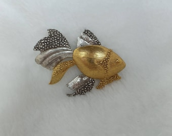 Liz Claiborne Signed Gold and Silver Fish Pin, Fish Brooch
