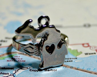 Bundesstaat Michigan versilbert verstellbarer Ring