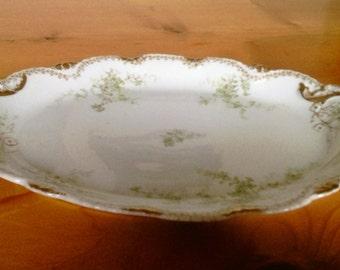 Antique Elegant Theodore Haviland Porcelain Serving Platter with Gold Trim