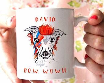 David Bowie Dog Print Mug, Cute Funny Dog Lover David Bowie Fan Gift