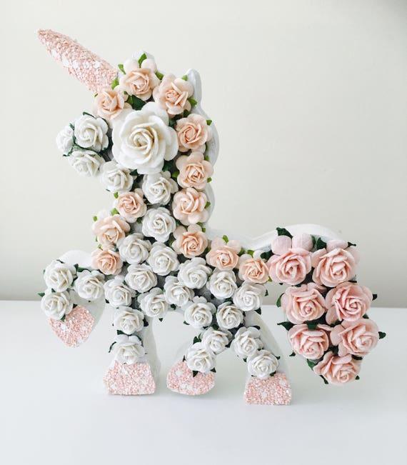 Unicorn new baby gift flower letter christening gift like this item negle Images