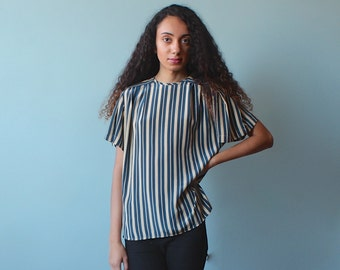 SALE stripe blouse / tan teal stripped short sleeve top / 1980s / small - medium
