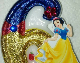 Snow White inspired birthday cake candle
