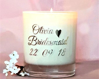Bridesmaid gift, Wedding guest gift, scented candle, handmade, soy candle.