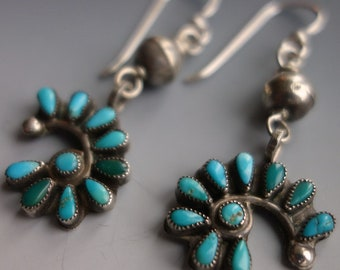Vintage Zuni Petit Point Turquoise Sterling Earrings