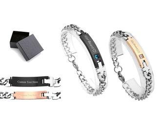 Customized Engraving Couples Bracelets,Stamped bracelet,Personalized Couple Bracelets,Anniversary Bracelet,Stainless Steel Matching Bracelet
