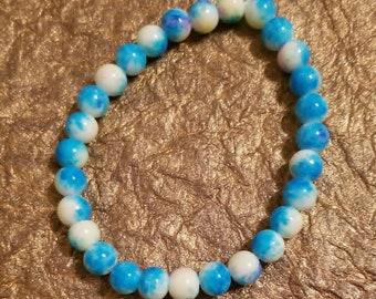 Blue beaded stretch cord bracelet