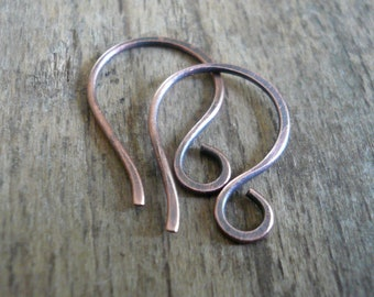 Twinkle Antique Copper Earwires - Handmade. Handforged. Oxidized. Made to Order