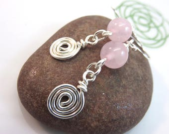 Rose quartz earrings - sterling silver rose quartz earrings -sterling silver swirl scroll earrings pink gemstone earrings silver scroll