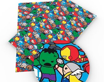 Superheros, Pattern, Faux Leatherette Sheet, Size 8 x 13in, Synthetic, Leather, Pleather, Craft, Hairbow