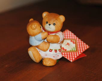 """Teddy Bear Figurine, Enesco Lucy Rigg's 1985 """"Lucy and Me"""" Original,  Mama Bear Holding Baby Bear, Porcelain Bisque Figurine, Bear Giftware"""