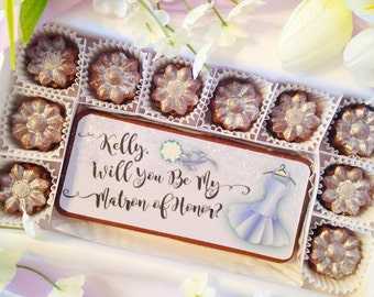 Be My Matron of Honor Gift Chocolates - Bridal Party Gift - Unique Matron of Honor Gift