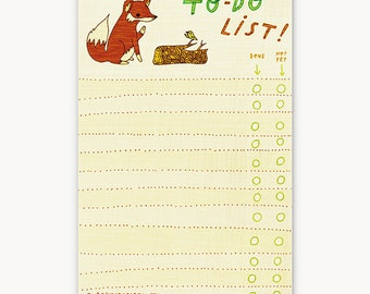 coworker gift ideas, fox TO DO LIST notepad, office supplies, to do planner notepad, office gift ideas for men, fox gift idea, mens gift