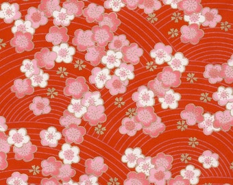 Chiyogami or yuzen paper - pink and white cherry blossoms on a cherry red background with gold plum blossom accents, 9x12 inches