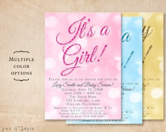 Printable Baby Shower Invitation - 5x7 - It's a Glitter - Girl Boy Gender-Neutral Baby Pink Blue Gold Glitter-look Bokeh Simple Modern