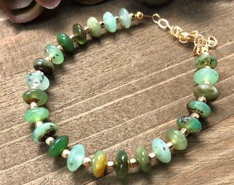 Chrysoprase and Gold Beaded Bracelet Stack Bracelet Gift For Her Gift Under 50 Bracelet For Her Bracelet Under 50 Chrysoprase Bracelet